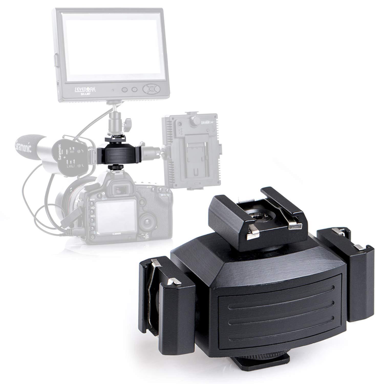 Pro Triple Shoe Mounts for Camera, Micnova MQ-THA Aluminium Alloy Adapter for Lights, LED Monitors, Microphones, Audio Recorder & Studio Flash Bracket Video Camera (Balck) by Micnova
