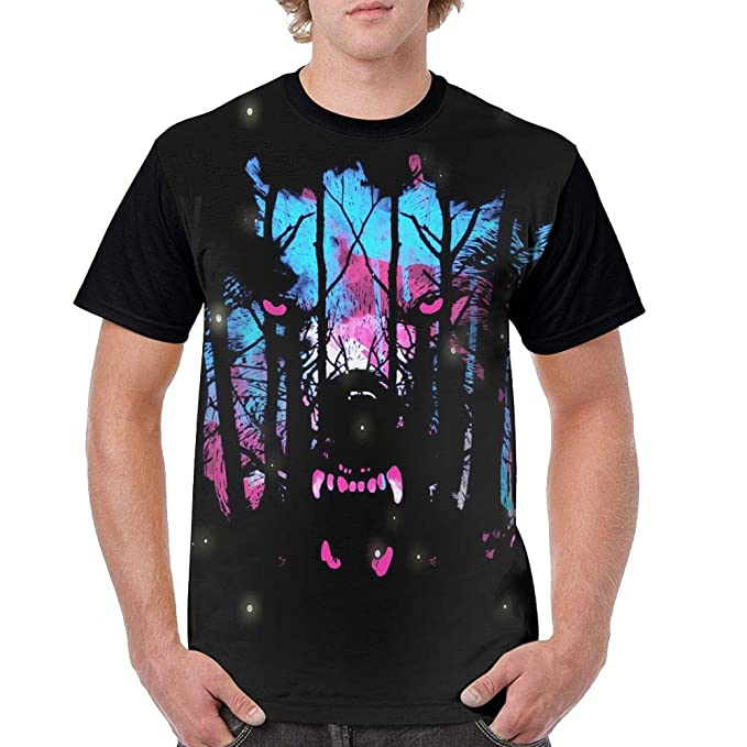 b3d6c93e7 Amazon.com: Men's Forest Wolf Customized Short Sleeve T-Shirt Tees ...