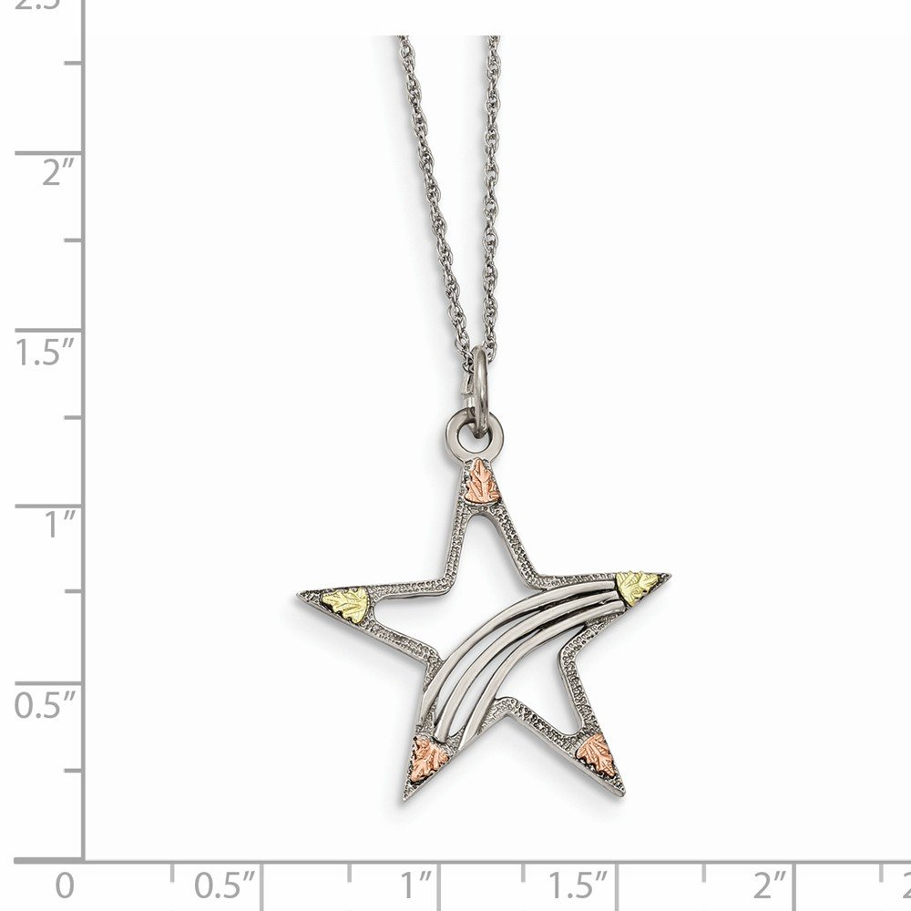 18 Length 925 Sterling Silver /& 12k Gold Accents Star Necklace