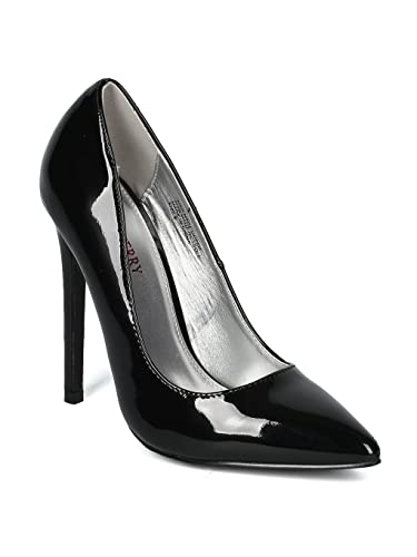 5334dacc803 Alrisco Women Pointy Toe Stiletto Pump HI20 - Black Patent (Size  6.5)