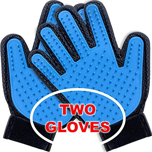 Pet Grooming Glove - Gloves for Dogs - 2 Pack - Deshedding Glove - Pet Deshedding Brush - Rubber Hair Removal Mitt for Pet - Grooming Massage Gloves for Dog Cat Horse UPGRADED