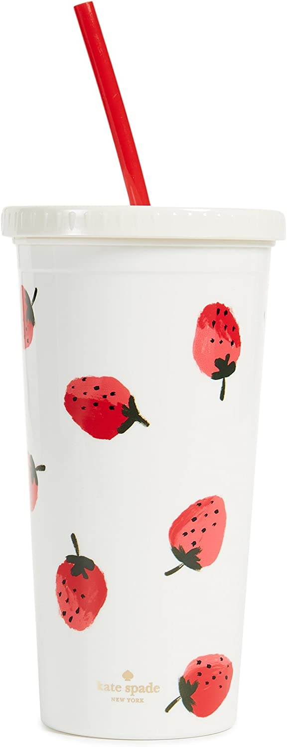 Kate Spade New York Insulated Plastic Tumbler with Reusable Straw, 20 Ounces, Strawberries