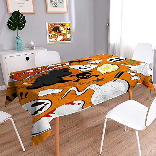 PRUNUSHOME Spillproof Fabric Tablecloth Halloween Comic speech bubbles for your design wear-resistant, washable, anti-liquid spill/52W x 52L -