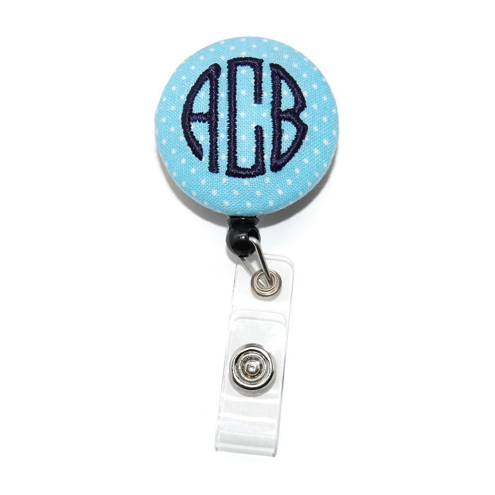 Monogrammed Light Blue Swiss Dot with Navy Badge Reel Retractable for ID or Key Card Free Shipping