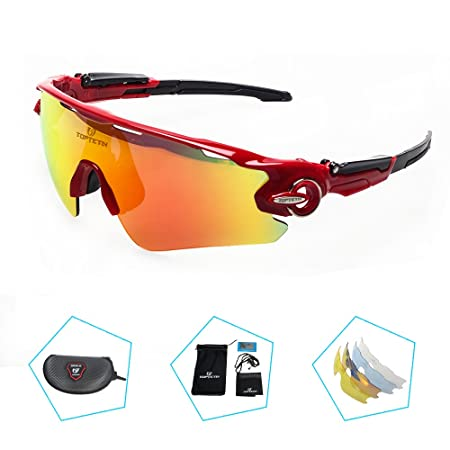 TOPTETN Gafas de sol deportivas Lente polarizada Gafas polarizadas Lente intercambiable 5 uv 400 UV corte bicicleta Ciclismo Golf Gafas de pescar Béisbol ...