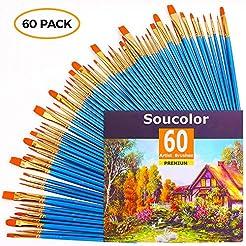 Acrylic Paint Brush Set, 6 packs/60pcs N...