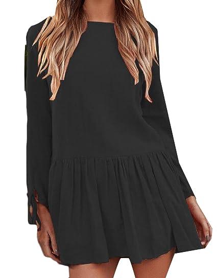 505197cc681 SportsX Women Straps Long Sleeve Linen Scoop Neck Pleated Short Dress Black  XS