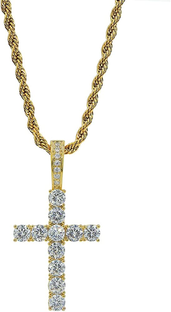 TOPGRILLZ 14K Gold&Silver Plated Solid Iced out CZ Lab Cubic Zirconia Cross Pendant Necklace for Men Women Stainless Chain