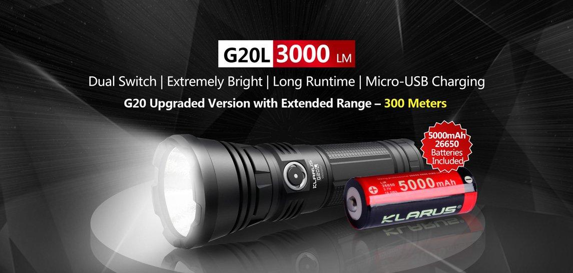 Klarus G20L LED Taschenlampe mit 3000 Lumen inkl. Akku