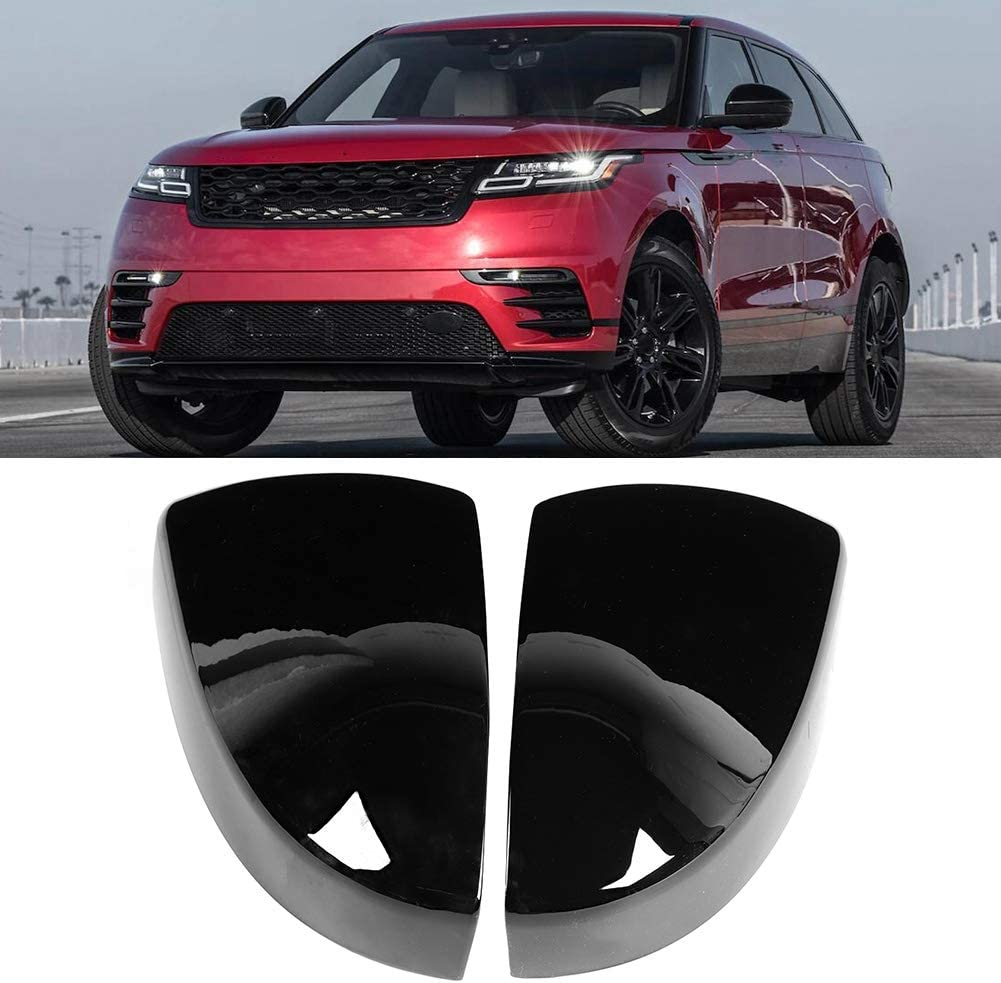 Black 2Pcs Car Exterior Side Mirror Cover Trim Fit for Evoque 2020 Rearview Mirror Caps