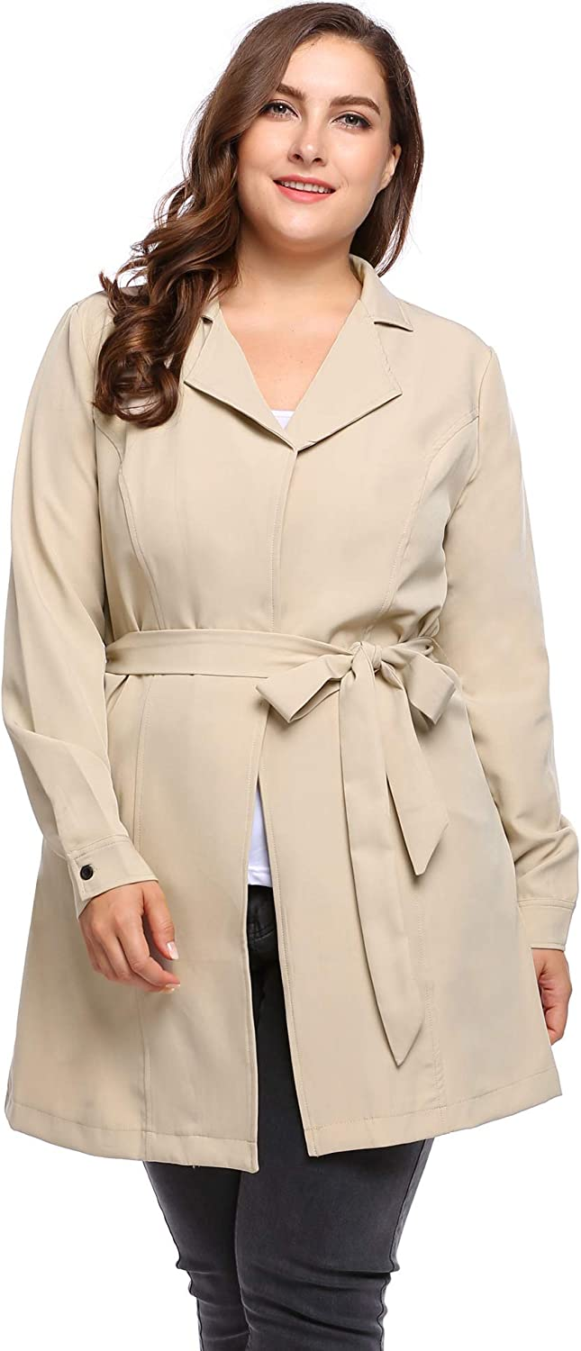 Lightweight Wrap Notched Lapel Jacket Self-Tie INVOLAND Plus Size Trench Coats Women