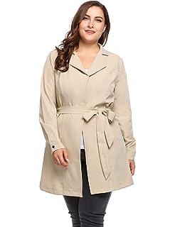 de4630d82550b IN VOLAND Plus Size Trench Coats Women - Lightweight Wrap Notched Lapel Jacket  Self-