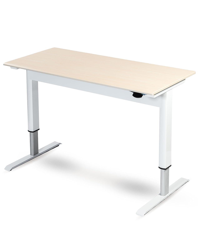 Excellent Pneumatic Adjustable Height Standing Desk 48 White Frame Birch Top Download Free Architecture Designs Scobabritishbridgeorg