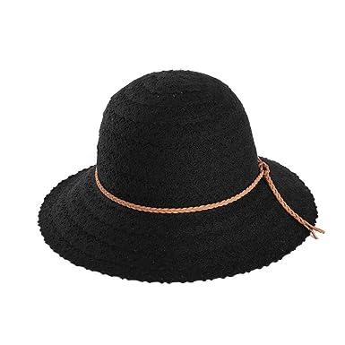 Yetagoo Womens Foldable Brown Braided Trim Vented Cotton Beach Sun Hat  (Black) 3cae0f3270