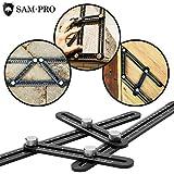SAM-PRO TOOLS Template Angle Tool-set: All Metal Aluminum Alloy Angleizer. Multi Angle Universal Angularizer Ruler for Measuring & Design. Travel Case, 5 Carpenter Pencils, & Sharpener Included!