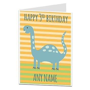 Personalised 3rd Birthday Card Dinosaur Theme For Boys Girls Son