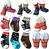 Cheap 6 Pairs Toddler Baby Walkers Boy Non Skid Socks Anti Slip Stretch Knit Ankle Cotton Shoe Socks Footsocks Sneakers Crew Socks Slippers With Grip for 12-24 Months