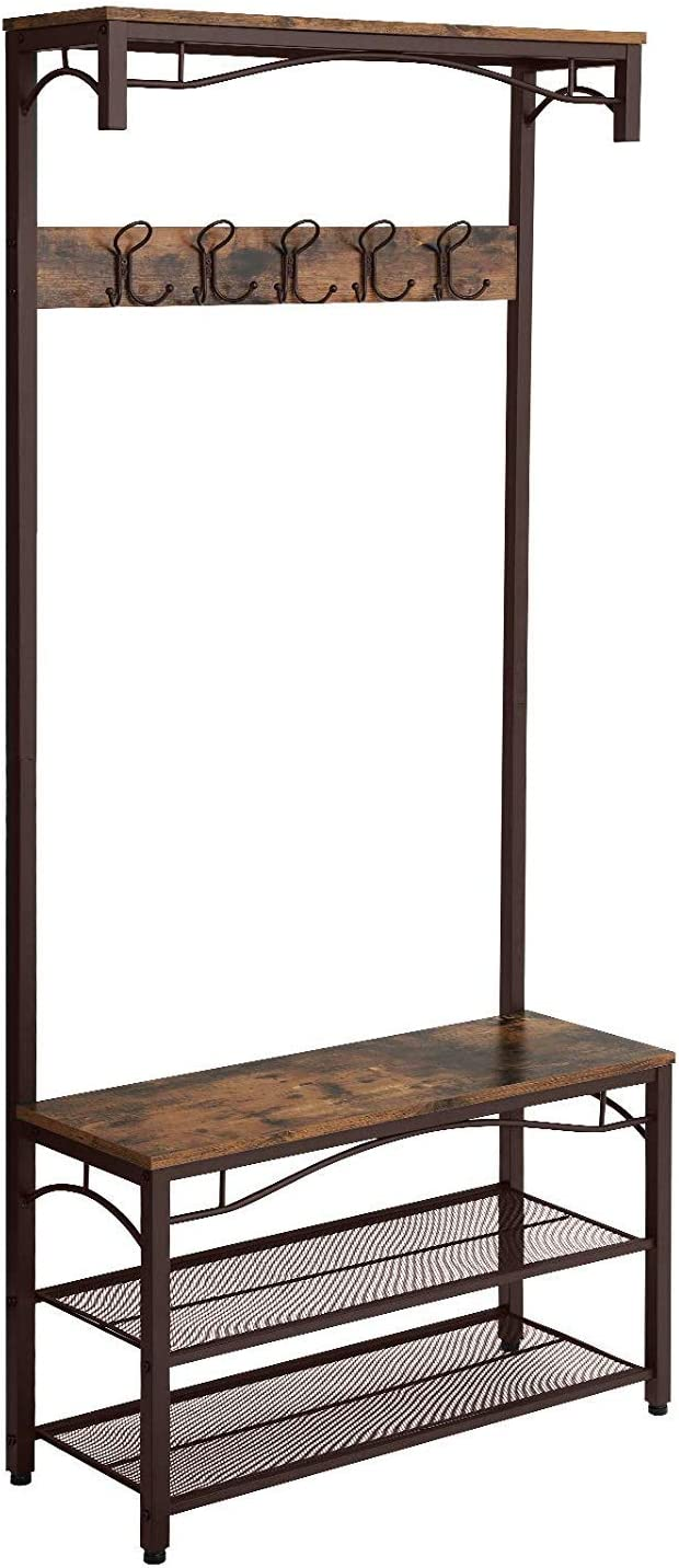 Benjara Metal Framed Coat Rack with Wooden Bench and Two Mesh Shelves, Brown and Black