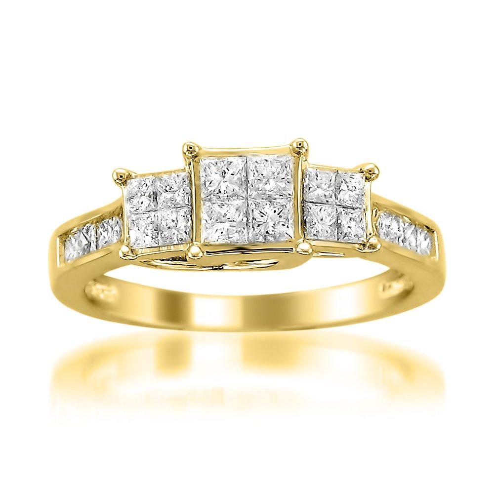 14k Yellow Gold Princess-cut Diamond Invisible-Set Engagement Wedding Ring (1 cttw, I-J, I1-I2), Size 7