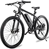 Merax 26' Aluminum Electric Mountain Bike 7 Speed E-Bike, 36V Lithium Battery 350W Electric Bicycle for Adults (Black)
