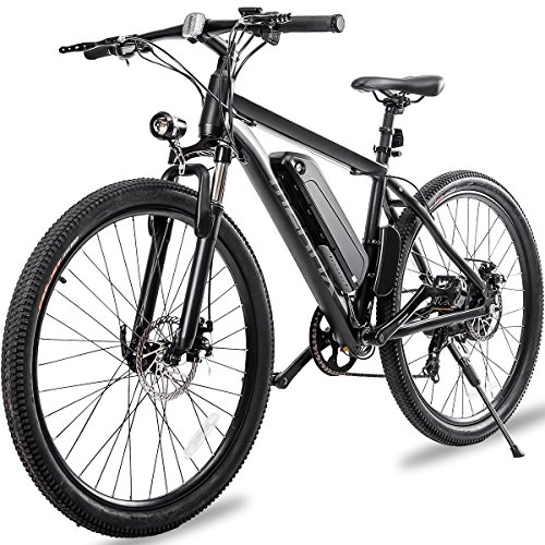 "Merax 26"" Aluminum Electric Mountain Bike 7 Speed E-Bike, 36V Lithium Battery 350W Electric Bicycle for Adults (Black)"