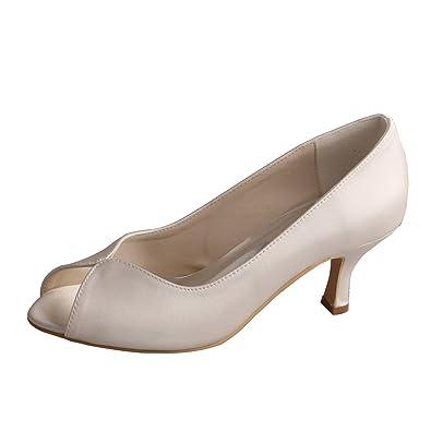 7fce6d997 Wedopus MW380 Women's Peep Toe Medium Heels Autumn Pumps Ivory Satin Bridal  Shoes Wedding (2