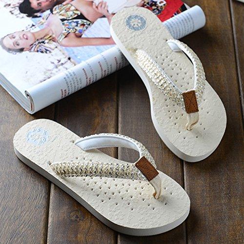Bianco Pantofole Scivolosa uk6 Bianca Da Marrone Donna Femminile Bianca Per Nero cn39 Moda Estate Pattini Dimensioni Sabbia Le Haizhen Fredde Scarpe Eu39 Donne Piatte colore Cqw8r6C