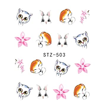 099fa7efeadb Amazon.com: 1pcs Nail Sticker Water Transfer Decal Sliders For Nail Art  Decoration Tattoo Manicure Wraps Tools STZ503: Beauty