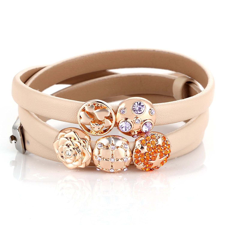 Menton Ezil Crystal Charm Buckle Clasp 3 Wrap Leather Belt Bangle Bracelet for Womens Fashion
