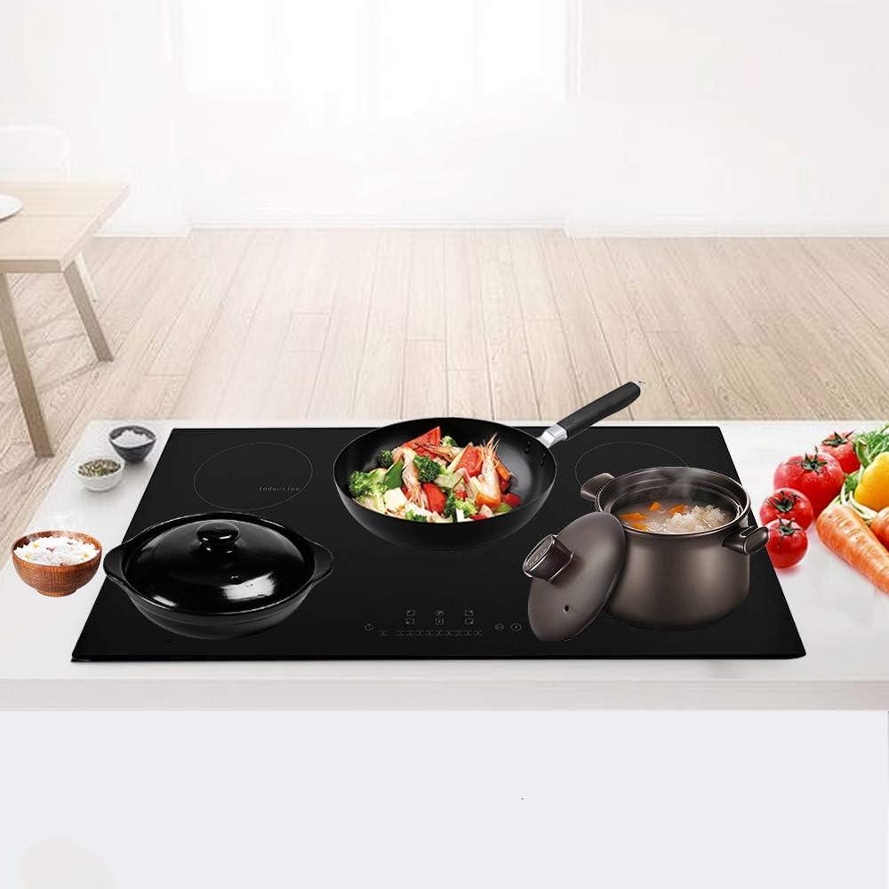 Placa de cocina de inducción 9300 W de Integrado, hornillo de inducción de vitrocerámica de 5 placas, color negro 5 Fornelli - L90cm: Amazon.es: Grandes electrodomésticos