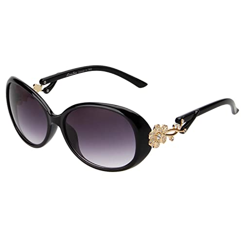 dca8067cad LianSan Fashion Oversized Women Uv400 Protection Polarized Lady Sunglasses  Gold Flower Full Frame Sunglasses Gd103 (