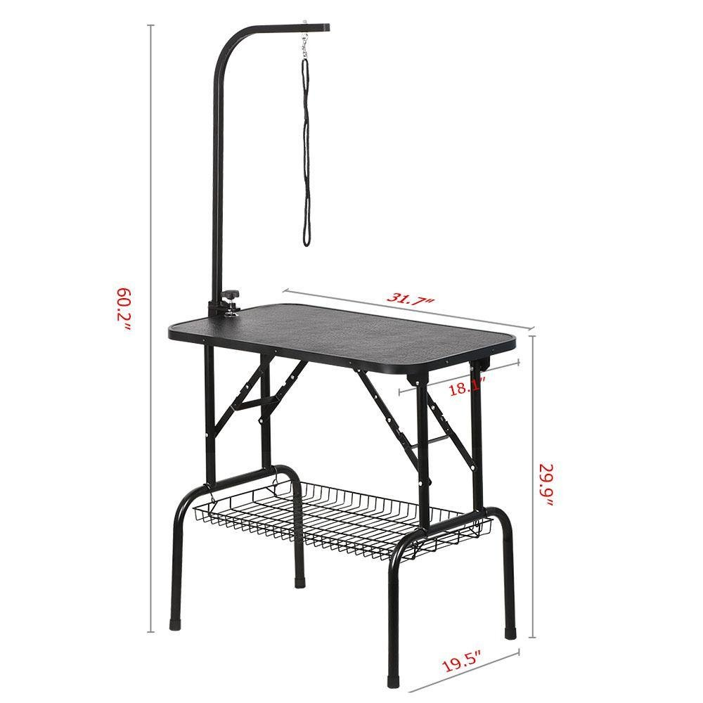 Yaheetech Pet Dog Grooming Table Adjustable Height - 32'' Drying Table w/Arm/Noose/Mesh Tray for Small Dogs Cats Portable Non-Slip Maximum Capacity Up to 220lbs Black by Yaheetech (Image #2)