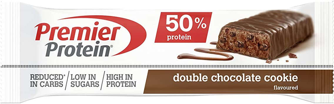 Premier Protein Protein Bar Double Chocolate 24x40g - Barras de Proteína con Bajo Contenido de Azúcar
