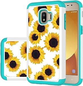 Ueokeird Case for Samsung Galaxy J2 Core/J2 2019/J2 Pure/J2 Dash/J2 Shine Case Girls Women, Shockproof Defender Heavy Duty Phone Cover Cases for Samsung Galaxy J260 (Sunflower)