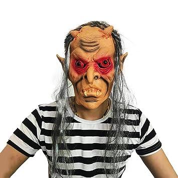 SCLMJ Peluca De Máscara Terrorífica De Halloween, Máscara De Látex con Dientes De Fantasma De