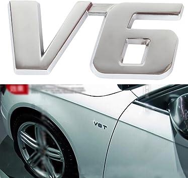 Chrome Car Emblem V6 Car Badge Decal Self Adhesive Sticker 3D Silver Back NEW