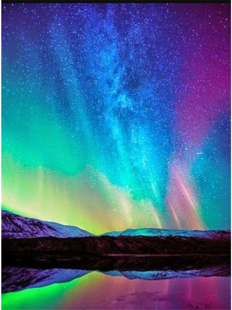 5D Full Drill Diamond Painting Aurora In The Mountains Embroidery Aurora Fantasy