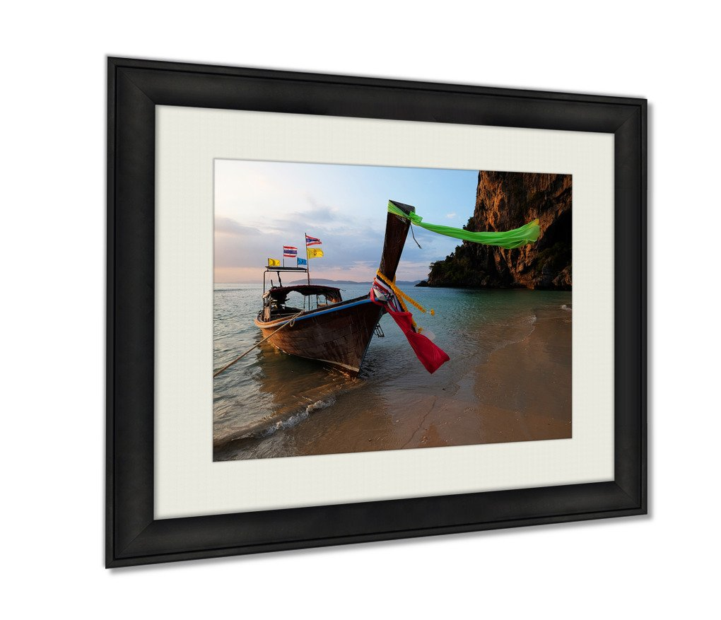 Ashley Framed Prints, Boat Thai In The Beautiful Miracle Beach Crystal Clear Water At Krabi Thaiand, Wall Art Decor Giclee Photo Print In Black Wood Frame, Ready to hang, 16x20 Art, AG5889988