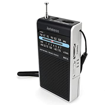 Retekess PR15 Weather Radio NOAA Emergency Radio with AM FM Transistor  Analog Radio Support Headphone Jack 2AAA Battery Hand Strap (Silver Black)