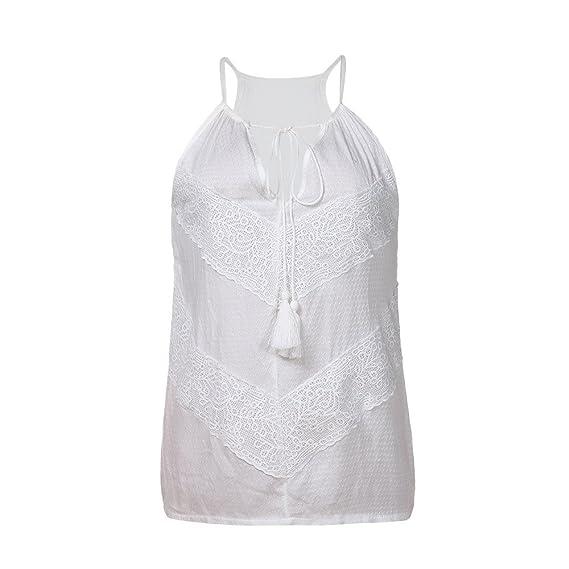 Moda Mujeres Tallas Grandes Cordón Camisetas sin mangastanque,Dama Sexy v-Cuello Blusa Tiras