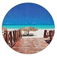Beach Vinyl Stained Glass Film,Walkway Heads to Sandy Beach Resort in Cuba Summer Day Hot Burnt Ocean Static Cling Window Decal,Fun Decoration for a Window/Door,Round 14
