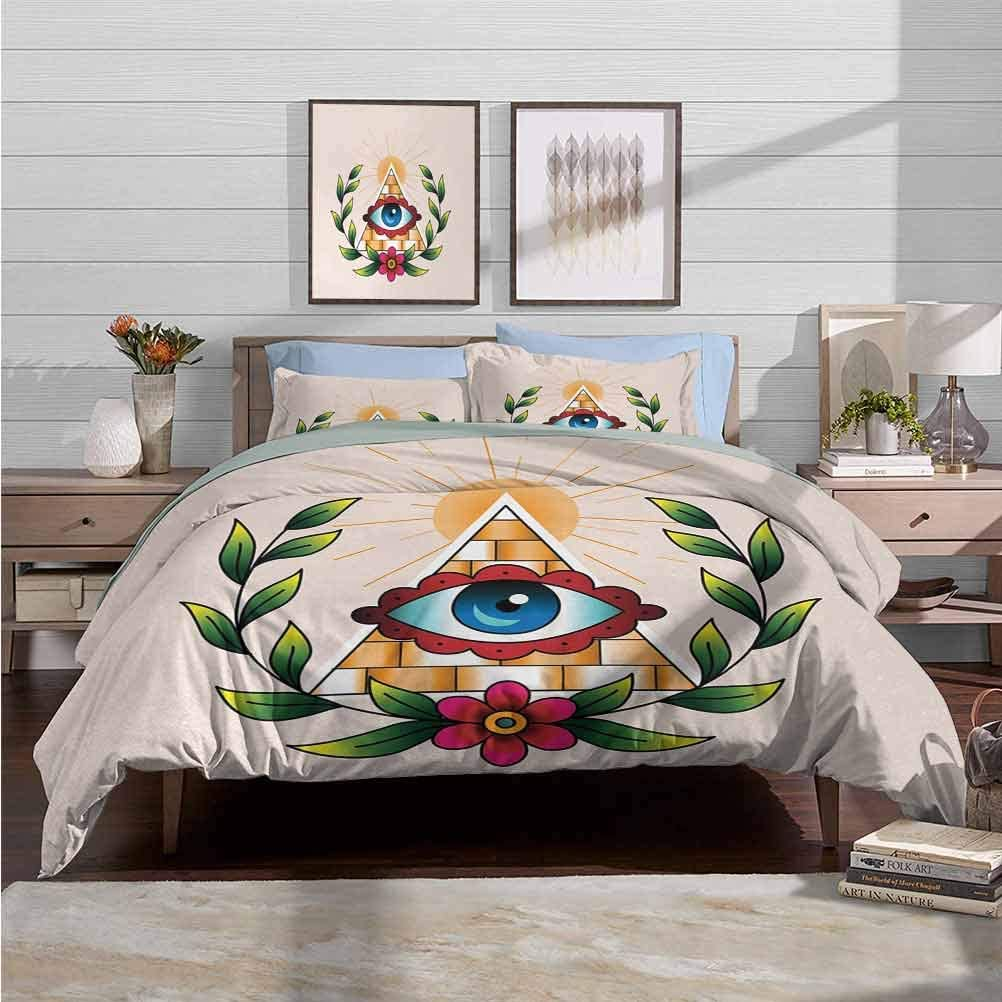 Bedding Duvet Cover Set Chic Home Duvet Cover Set Abstract Composition with Pyramid Sun and Laurel Wreath Esoteric Style with Many Colors Decorative 3 Piece Bedding Set with 2 Pillow Shams, Queen Size