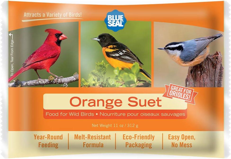 11oz Year Round Premium Orange Bird Suet Single Cake
