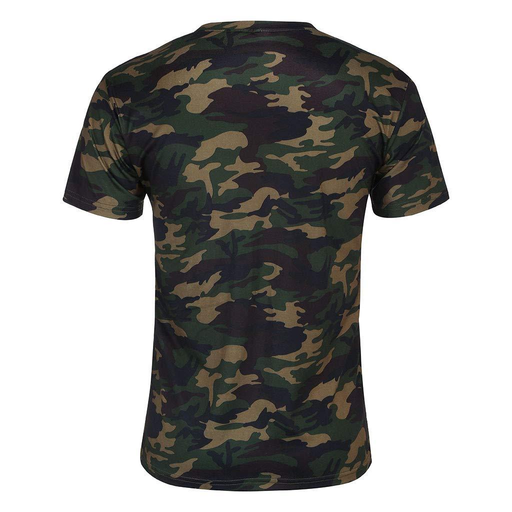 Chemise Homme Casual,T-Shirt Homme Pas Cher,Chemise Homme Manches Courtes,Hommes Camouflage Rayé Modèle Décontractée Revers Court Manche Chemise Armée Verte
