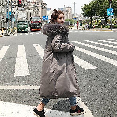 Xuanku Winter Oversize Collar Collar Cotton Clothing Women Knee Long Thick Thick Waist Hooded Skirt Gray 3119