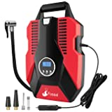 Foseal 1 Red Portable Air Compressor Pump, Digital 12V Tire Inflator 150 PSI Auto Shutoff Easy to Use,Overheat Protection,Fast, Low Noisy for Car Bicycle Motorcycle Basketball etc (Color: Red, Tamaño: Portable Air Compressor Digital LED light)