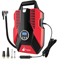 Foseal Portable Air Compressor Pump, 12V DC Digital Tire Inflator 150 PSI Auto Shut-off Easy to Use Tire Pump with Emergency Led Light and Long Cable for Car Motorcycle Bicycle/Schrader Tires Ball-Red