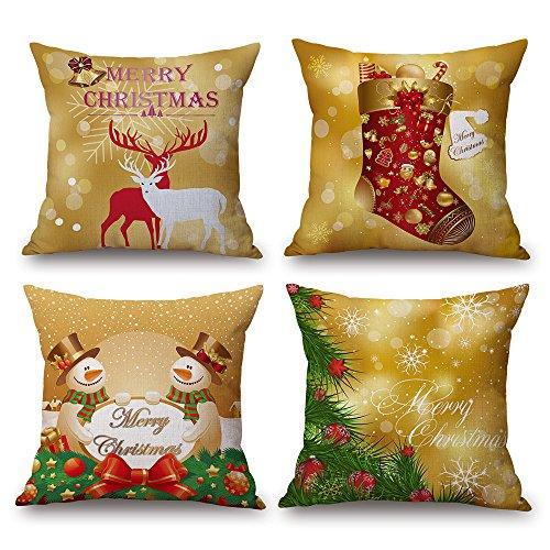 (18 inch Christmas Decorative Throw Pillow Covers Xmas Deer Snowman Socks Pillow Case Set of 4 (Gold))