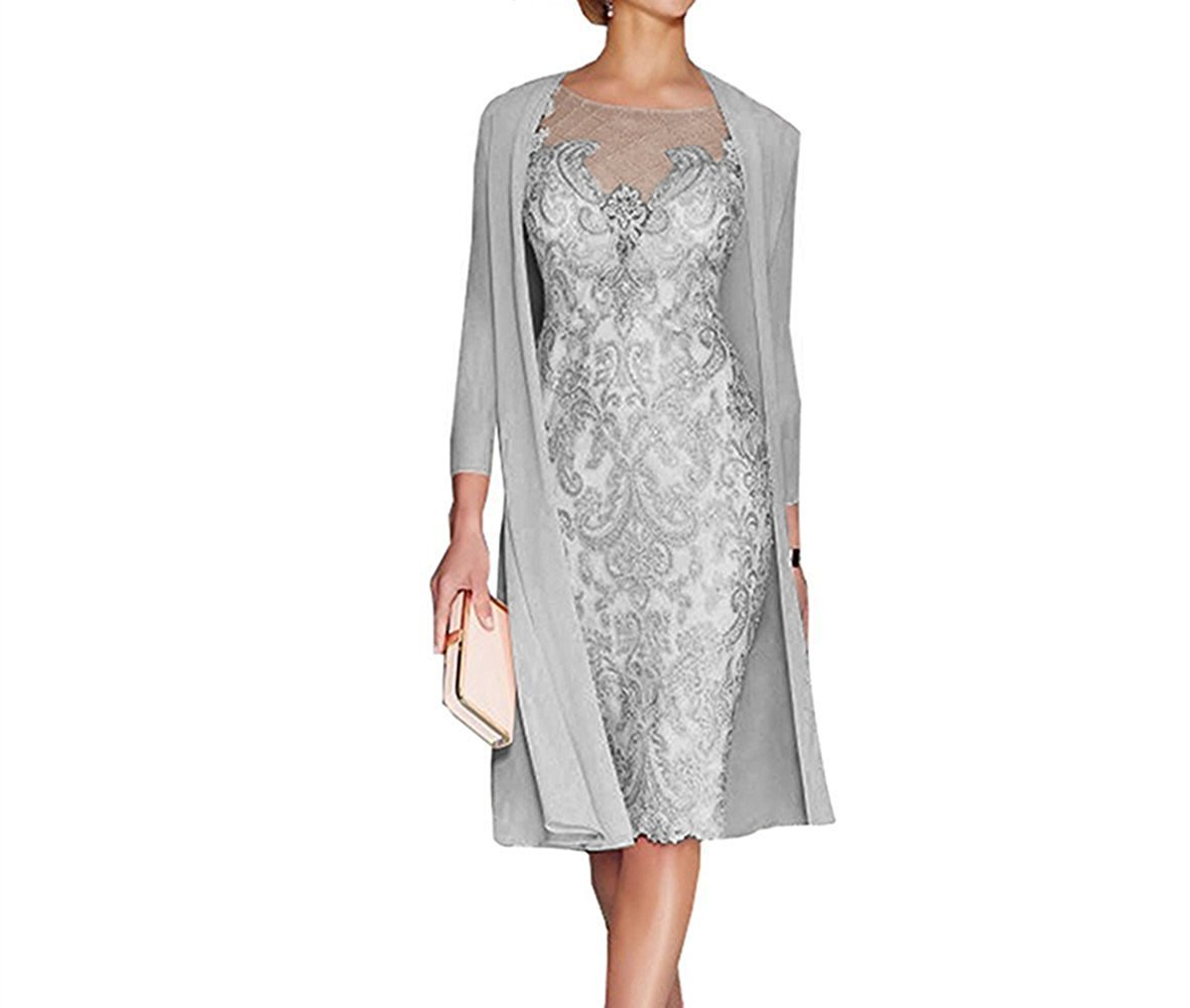 APXPF Women's Mother Of The Groom Dresses Tea Length With Jacket Grey US16