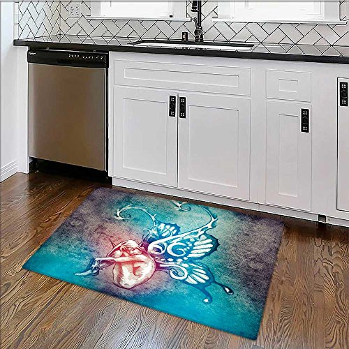 (Perfect Kitchen Mat Sketch of tattoo art, fairy with butterfly ws Easy Clean W17